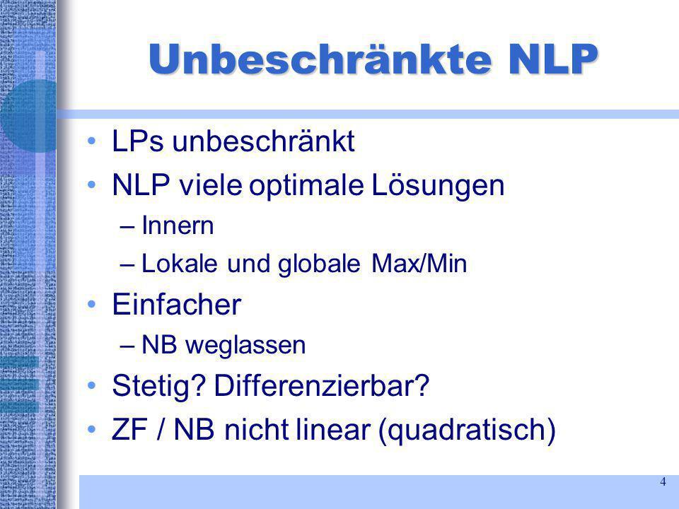 4 Unbeschränkte NLP LPs unbeschränkt NLP viele optimale Lösungen –Innern –Lokale und globale Max/Min Einfacher –NB weglassen Stetig.