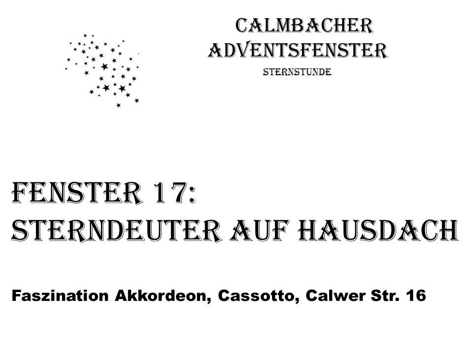 Calmbacher Adventsfenster Sternstunde Fenster 17: Sterndeuter auf Hausdach Faszination Akkordeon, Cassotto, Calwer Str. 16
