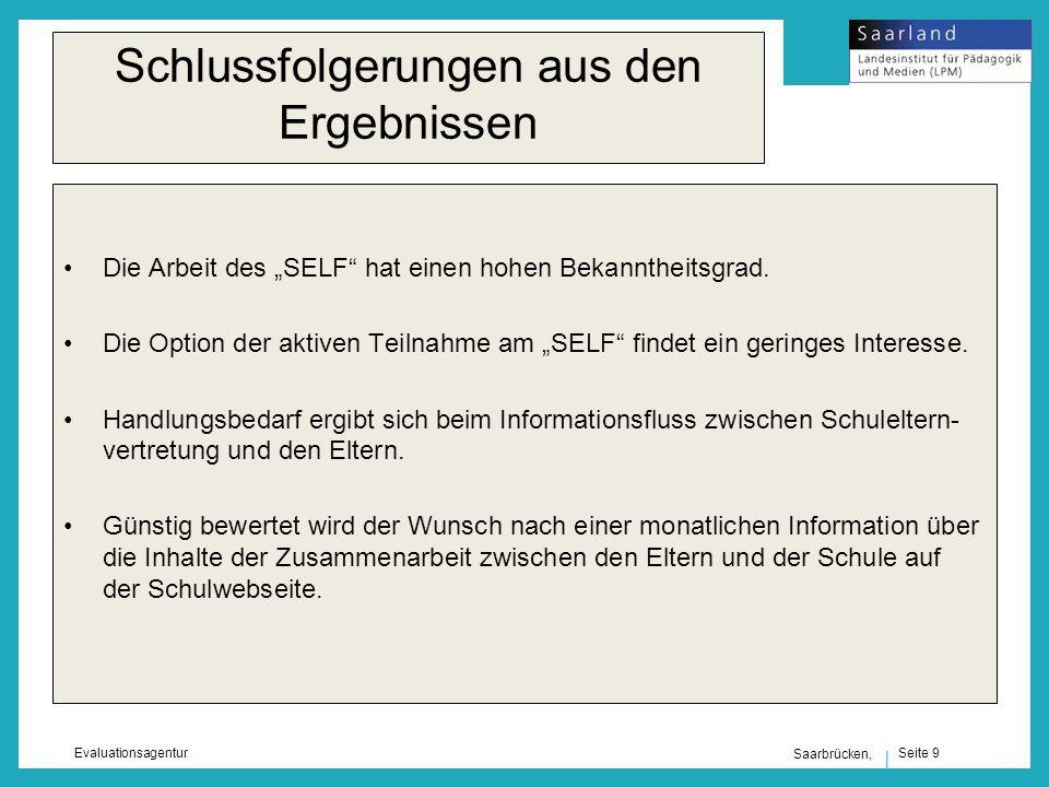 Seite 9 Evaluationsagentur Saarbrücken, Schlussfolgerungen aus den Ergebnissen Die Arbeit des SELF hat einen hohen Bekanntheitsgrad.