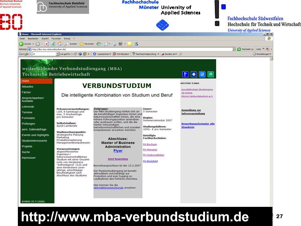 27 20.01.2007 http://www.mba-verbundstudium.de