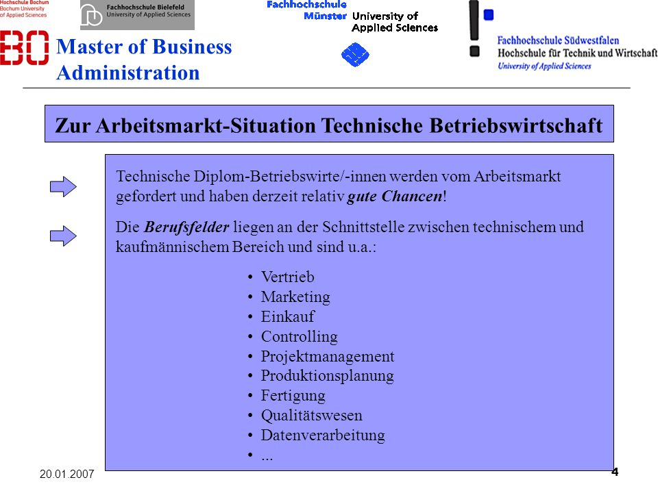 4 20.01.2007 Zur Arbeitsmarkt-Situation Technische Betriebswirtschaft Technische Diplom-Betriebswirte/-innen werden vom Arbeitsmarkt gefordert und hab