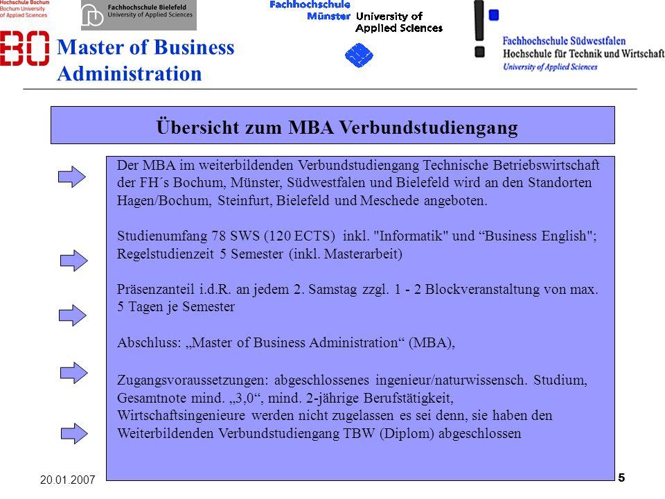 5 20.01.2007 Übersicht zum MBA Verbundstudiengang Der MBA im weiterbildenden Verbundstudiengang Technische Betriebswirtschaft der FH´s Bochum, Münster