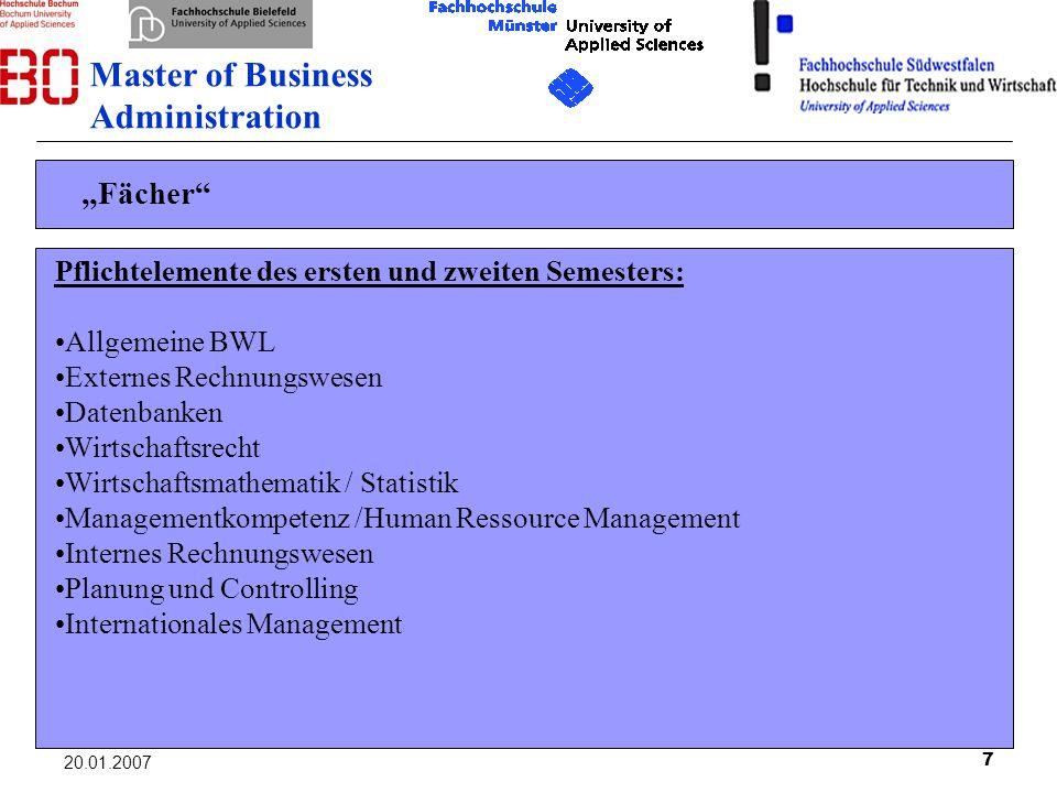 7 20.01.2007 Fächer Pflichtelemente des ersten und zweiten Semesters: Allgemeine BWL Externes Rechnungswesen Datenbanken Wirtschaftsrecht Wirtschaftsm