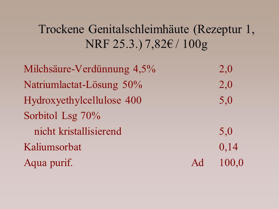 Trockene Genitalschleimhäute (Rezeptur 1, NRF 25.3.) 7,82 / 100g Milchsäure-Verdünnung 4,5%2,0 Natriumlactat-Lösung 50%2,0 Hydroxyethylcellulose 4005,