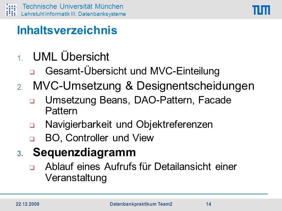 Technische Universität München Lehrstuhl Informatik III: Datenbanksysteme Inhaltsverzeichnis 1. UML Übersicht  Gesamt-Übersicht und MVC-Einteilung 2.