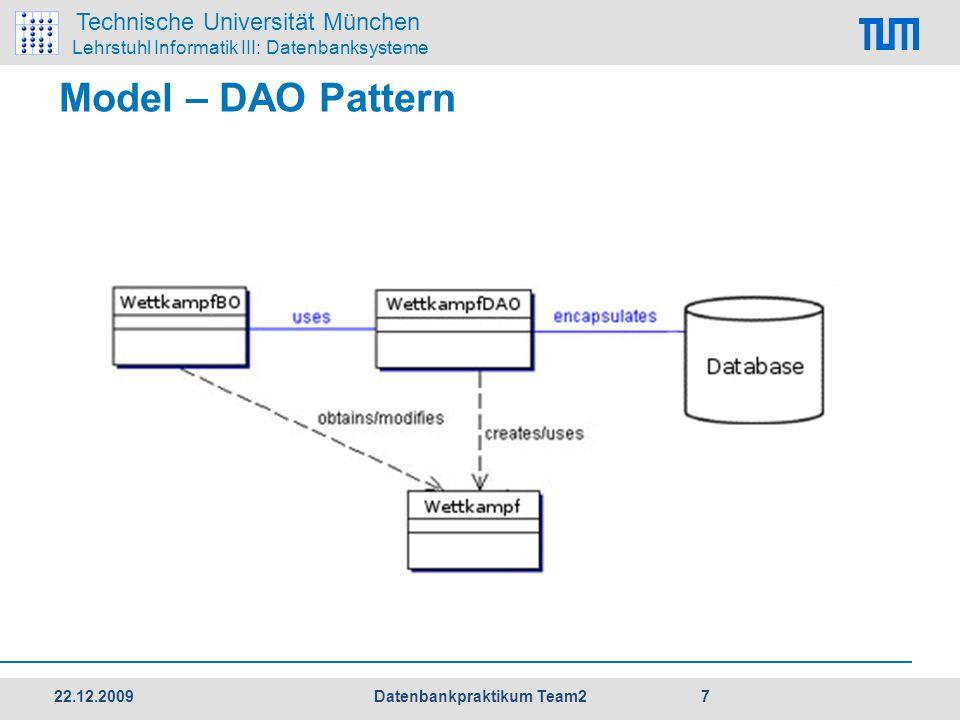 Technische Universität München Lehrstuhl Informatik III: Datenbanksysteme Model – DAO Pattern 22.12.2009 7 Datenbankpraktikum Team2