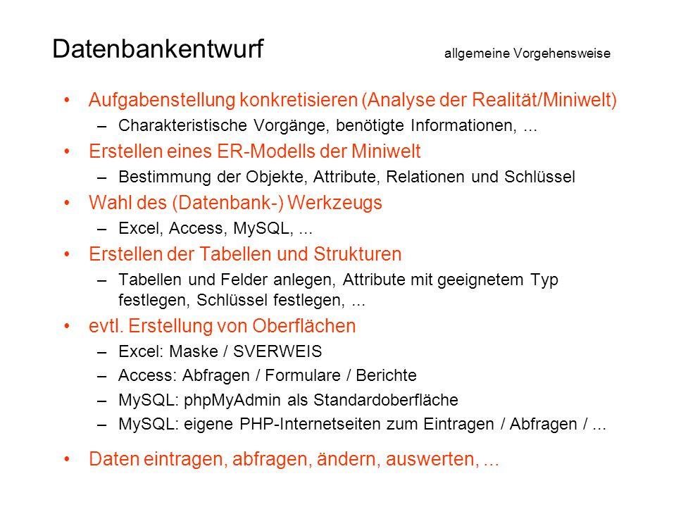 Datenbankentwurf allgemeine Vorgehensweise •Aufgabenstellung konkretisieren (Analyse der Realität/Miniwelt) –Charakteristische Vorgänge, benötigte Inf