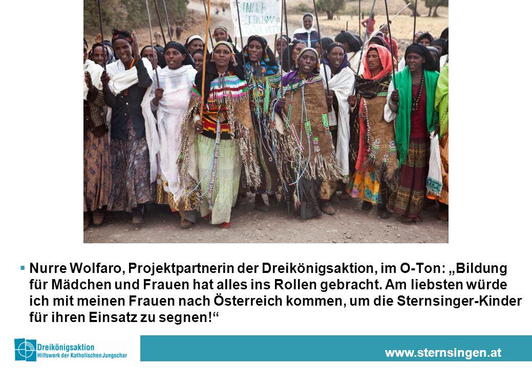 """www.sternsingen.at  Nurre Wolfaro, Projektpartnerin der Dreikönigsaktion, im O-Ton: """"Bildung für Mädchen und Frauen hat alles ins Rollen gebracht. Am"""