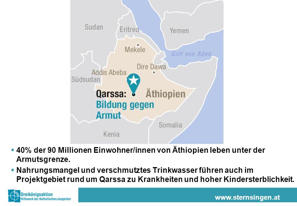 www.sternsingen.at  40% der 90 Millionen Einwohner/innen von Äthiopien leben unter der Armutsgrenze.  Nahrungsmangel und verschmutztes Trinkwasser f