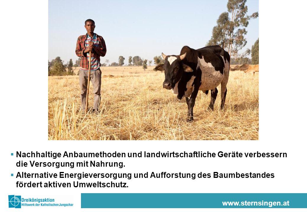 www.sternsingen.at  Nachhaltige Anbaumethoden und landwirtschaftliche Geräte verbessern die Versorgung mit Nahrung.  Alternative Energieversorgung u
