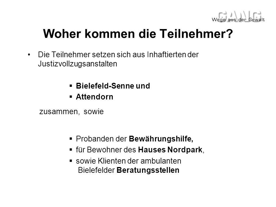 Woher kommen die Teilnehmer? •Die Teilnehmer setzen sich aus Inhaftierten der Justizvollzugsanstalten  Bielefeld-Senne und  Attendorn zusammen, sowi
