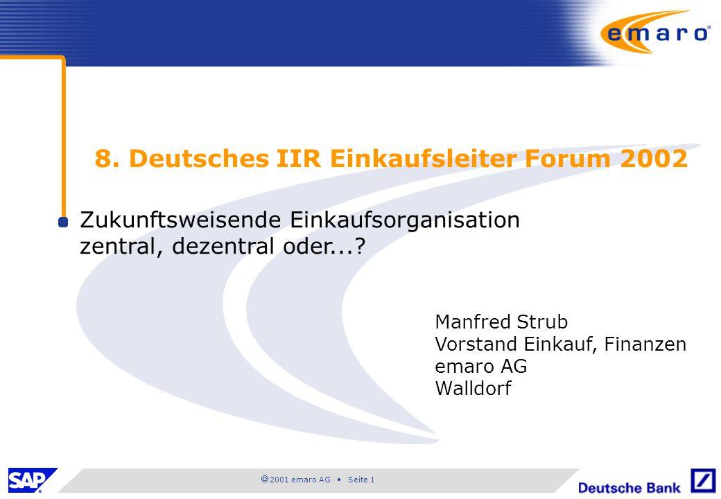  2001 emaro AG • Seite 1 8. Deutsches IIR Einkaufsleiter Forum 2002 Zukunftsweisende Einkaufsorganisation zentral, dezentral oder...? Manfred Strub V