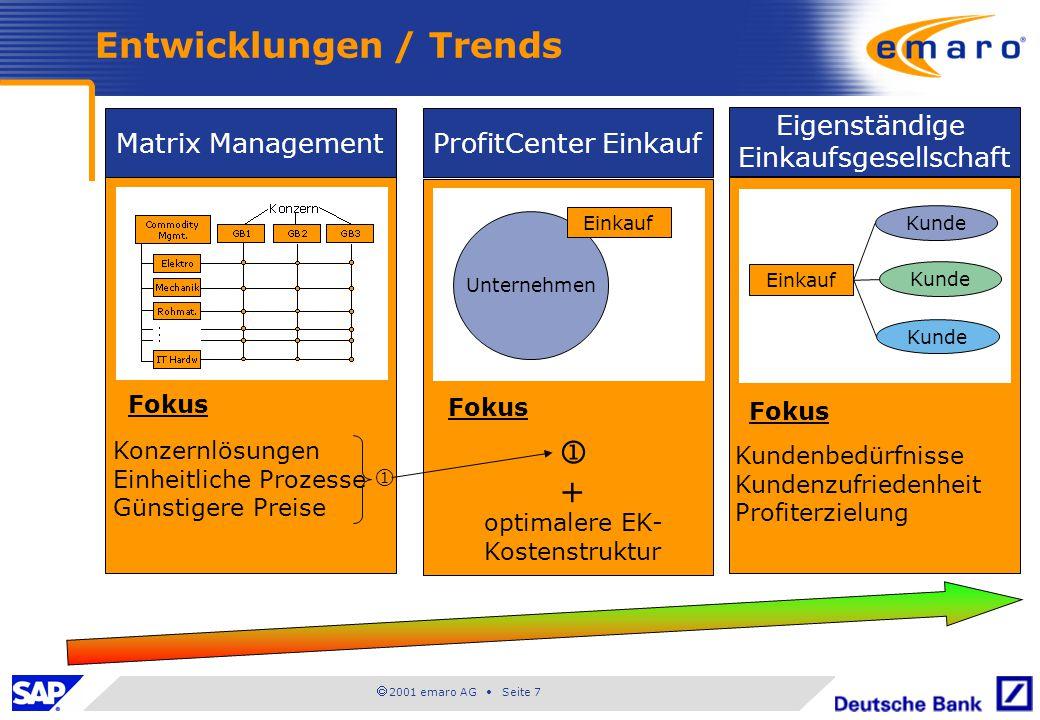  2001 emaro AG • Seite 7 Entwicklungen / Trends Matrix Management Fokus Konzernlösungen Einheitliche Prozesse Günstigere Preise  ProfitCenter Einkau