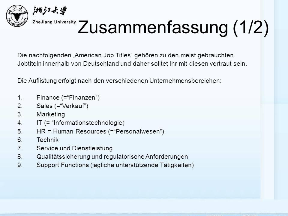"""Zusammenfassung (1/2) Die nachfolgenden """"American Job Titles gehören zu den meist gebrauchten Jobtiteln innerhalb von Deutschland und daher solltet Ihr mit diesen vertraut sein."""