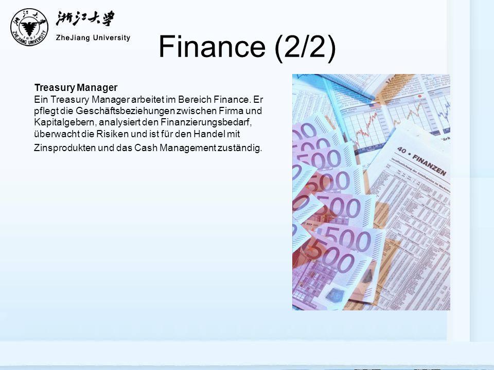 Finance (2/2) Treasury Manager Ein Treasury Manager arbeitet im Bereich Finance.