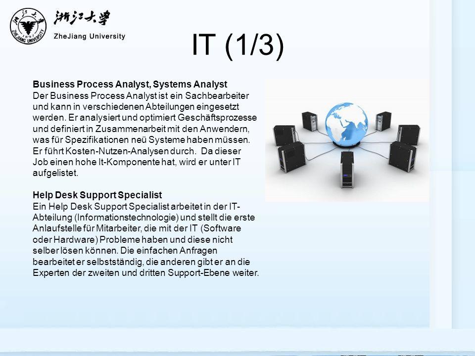 IT (1/3) Business Process Analyst, Systems Analyst Der Business Process Analyst ist ein Sachbearbeiter und kann in verschiedenen Abteilungen eingesetzt werden.