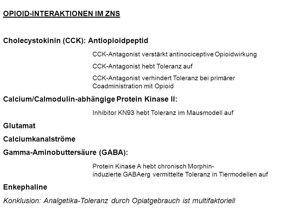 OPIOID-INTERAKTIONEN IM ZNS Cholecystokinin (CCK): Antiopioidpeptid CCK-Antagonist verstärkt antinociceptive Opioidwirkung CCK-Antagonist hebt Toleranz auf CCK-Antagonist verhindert Toleranz bei primärer Coadministration mit Opioid Calcium/Calmodulin-abhängige Protein Kinase II: Inhibitor KN93 hebt Toleranz im Mausmodell auf Glutamat Calciumkanalströme Gamma-Aminobuttersäure (GABA): Protein Kinase A hebt chronisch Morphin- induzierte GABAerg vermittelte Toleranz in Tiermodellen auf Enkephaline Konklusion: Analgetika-Toleranz durch Opiatgebrauch ist multifaktoriell