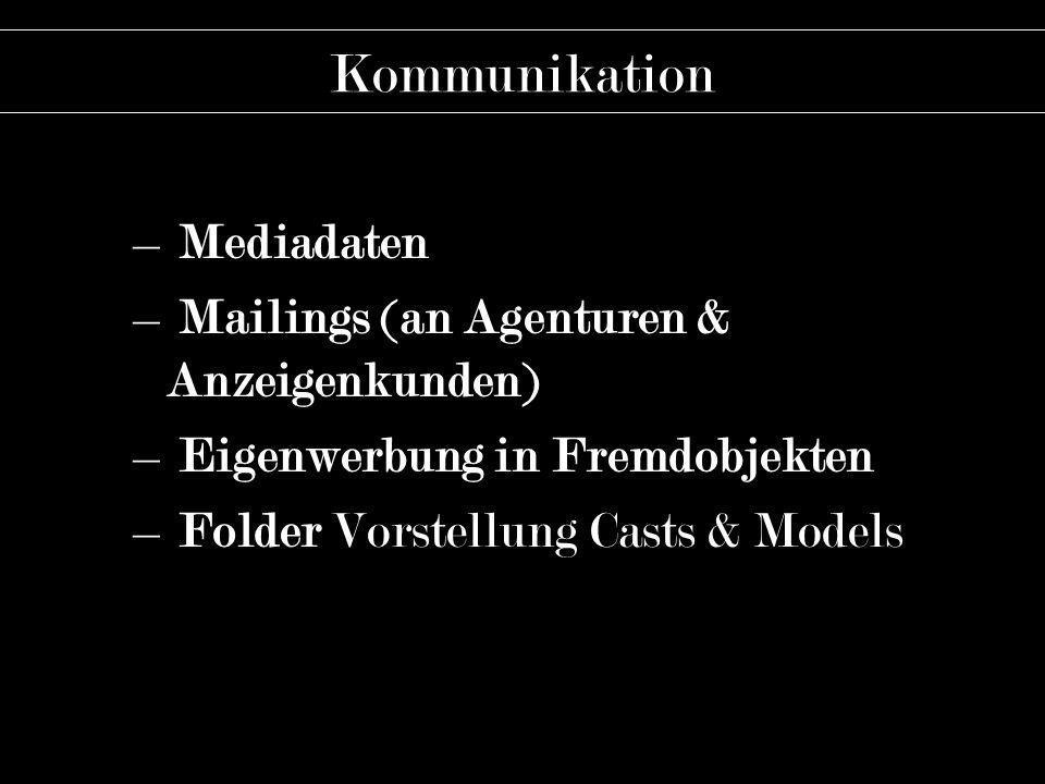 Kommunikation – Mediadaten – Mailings (an Agenturen & Anzeigenkunden) – Eigenwerbung in Fremdobjekten – Folder Vorstellung Casts & Models