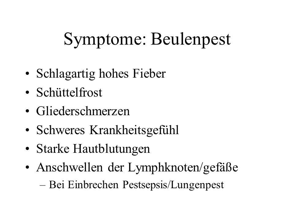 Symptome: Beulenpest •Schlagartig hohes Fieber •Schüttelfrost •Gliederschmerzen •Schweres Krankheitsgefühl •Starke Hautblutungen •Anschwellen der Lymp