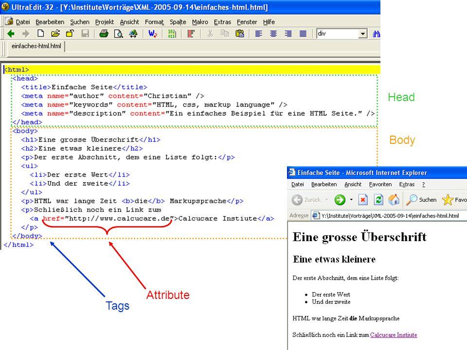 """HTML: """"Erlaubte Tags *) •Dokument,,,, •Listen,, •Gliederung..,, •Bereiche, •Links, •Auszeichnung,,,, •Formatierung,, •Formulare,,, •Bilder *) Auszug"""