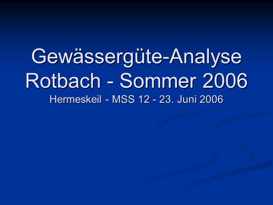 Gewässergüte-Analyse Rotbach - Sommer 2006 Hermeskeil - MSS 12 - 23. Juni 2006