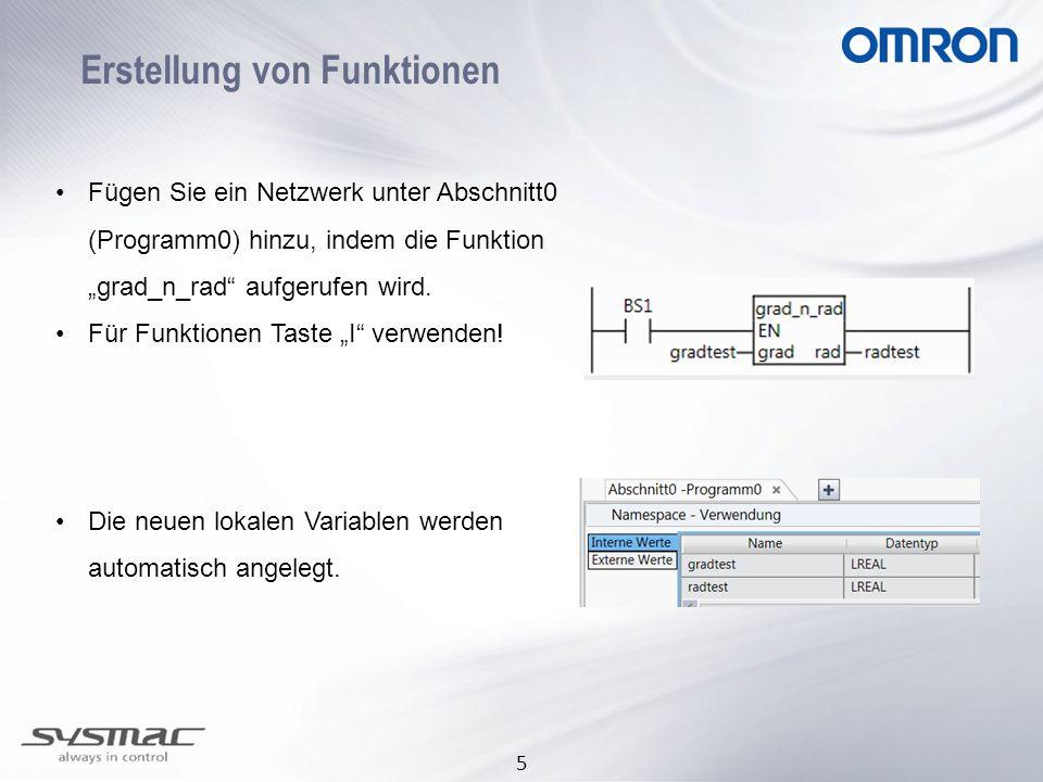 """5 Erstellung von Funktionen •Fügen Sie ein Netzwerk unter Abschnitt0 (Programm0) hinzu, indem die Funktion """"grad_n_rad aufgerufen wird."""