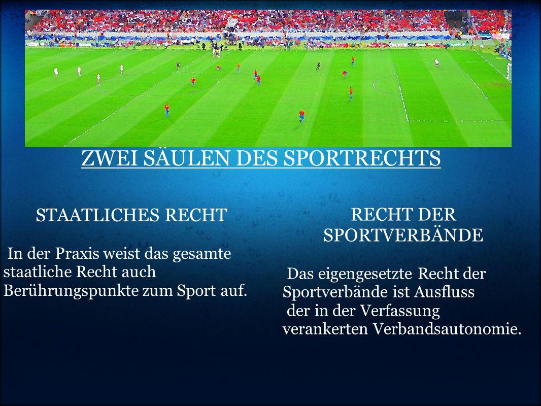 ZWEI SÄULEN DES SPORTRECHTS STAATLICHES RECHT In der Praxis weist das gesamte staatliche Recht auch Berührungspunkte zum Sport auf.