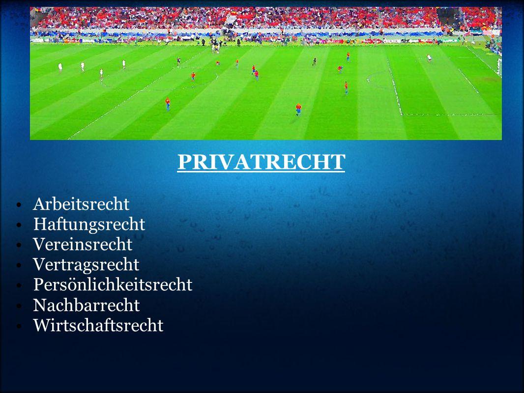 PRIVATRECHT •Arbeitsrecht •Haftungsrecht •Vereinsrecht •Vertragsrecht •Persönlichkeitsrecht •Nachbarrecht •Wirtschaftsrecht