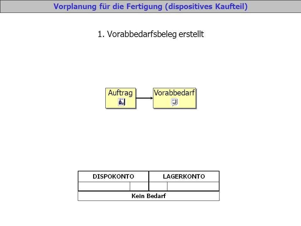 Vorplanung für die Fertigung (dispositives Kaufteil) 1.