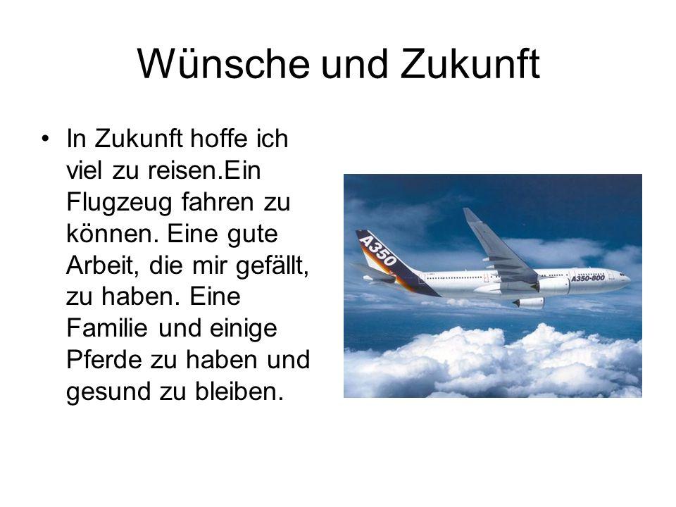 Wünsche und Zukunft •In Zukunft hoffe ich viel zu reisen.Ein Flugzeug fahren zu können. Eine gute Arbeit, die mir gefällt, zu haben. Eine Familie und