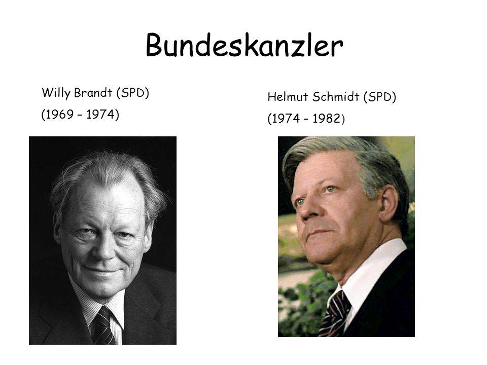 Bundeskanzler Willy Brandt (SPD) (1969 – 1974) Helmut Schmidt (SPD) (1974 – 1982 )
