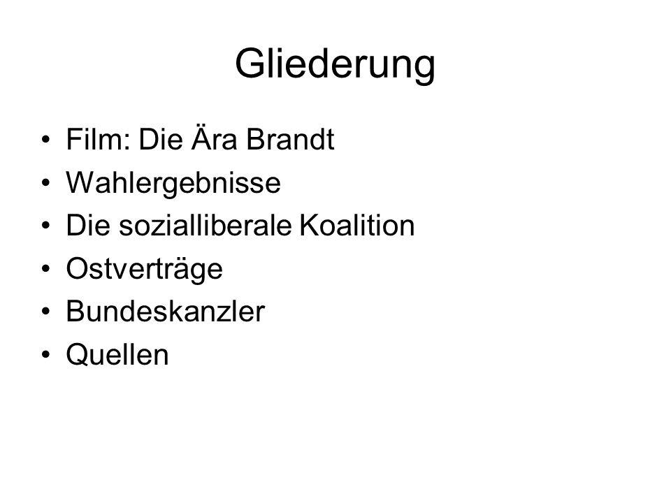 Gliederung •Film: Die Ära Brandt •Wahlergebnisse •Die sozialliberale Koalition •Ostverträge •Bundeskanzler •Quellen