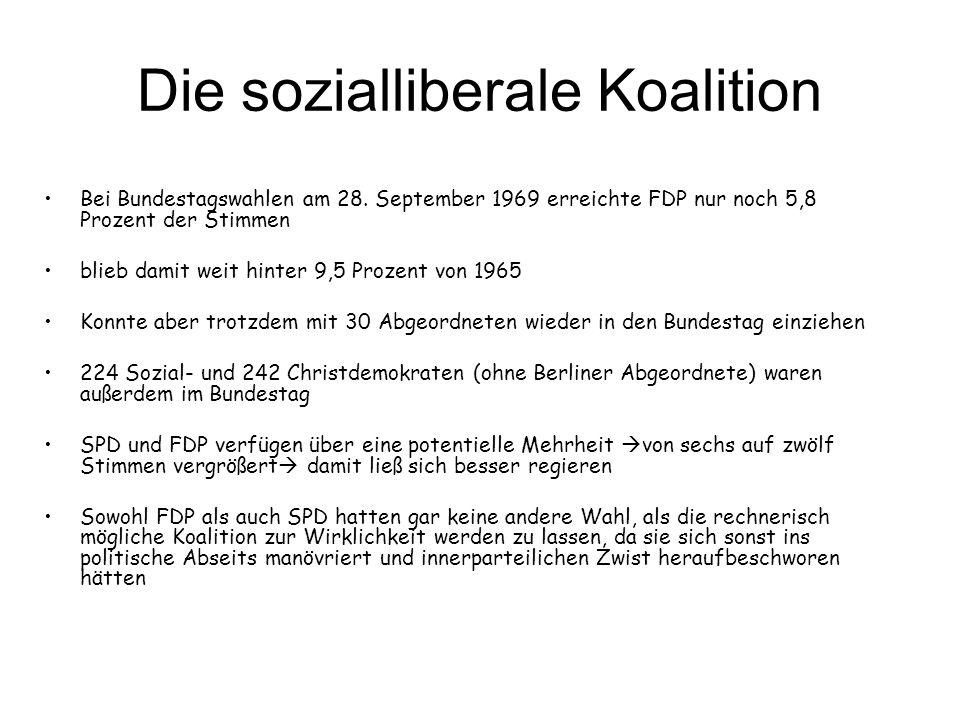Die sozialliberale Koalition •Bei Bundestagswahlen am 28. September 1969 erreichte FDP nur noch 5,8 Prozent der Stimmen •blieb damit weit hinter 9,5 P