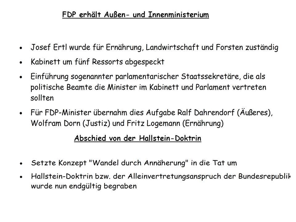 FDP erhält Außen- und Innenministerium Abschied von der Hallstein-Doktrin