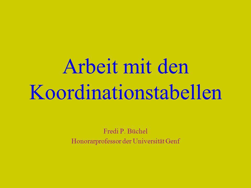 Arbeit mit den Koordinationstabellen Fredi P. Büchel Honorarprofessor der Universität Genf