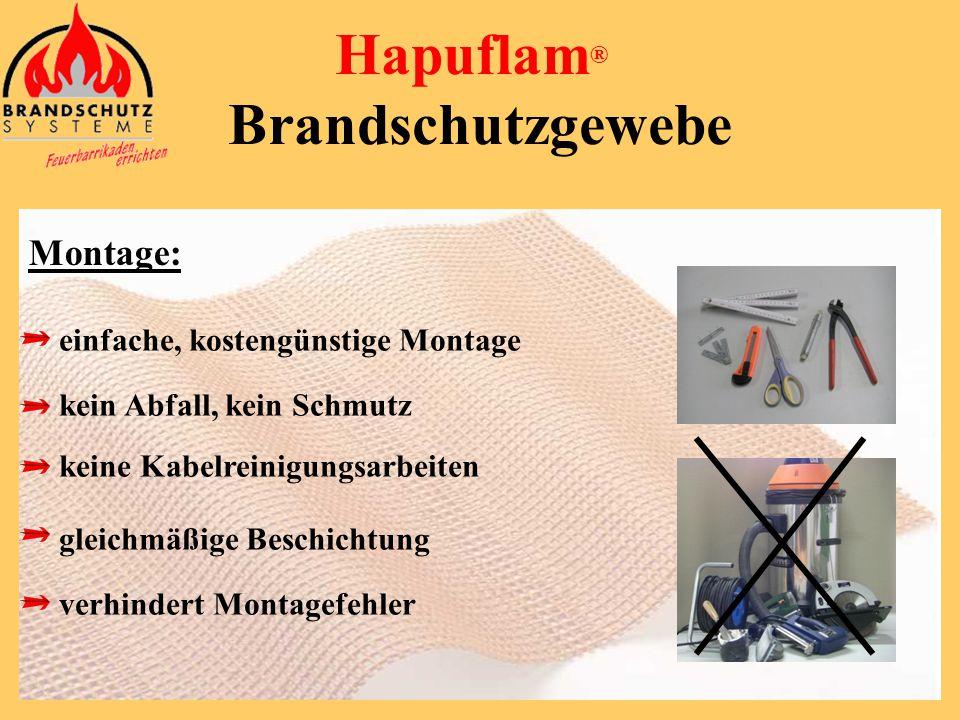 Hapuflam ® Brandschutzgewebe Technische Eigenschaften: flexibel, (kann überall angepaßt werden) leicht, (keine Statikprobleme) platzsparend (keine zus