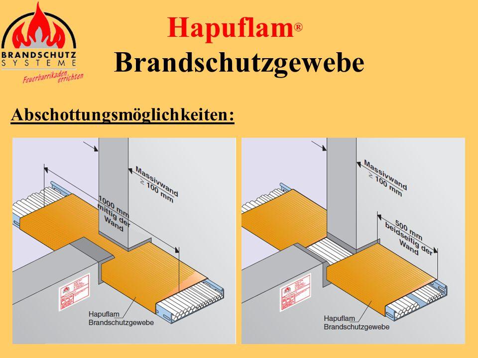 Hapuflam ® Brandschutzgewebe Weitere Vorteile: Keine Wartungskosten Einfache Kontrolle möglich (visuell) Früherkennung möglich durch Reaktion des Gewe