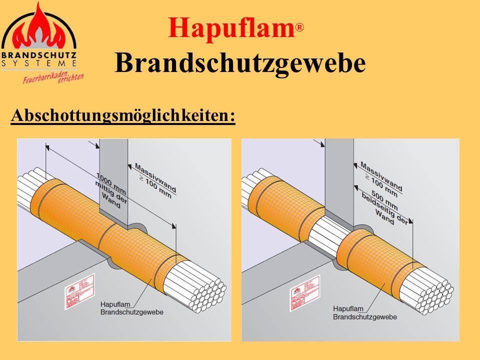 Hapuflam ® Brandschutzgewebe Abschottungsmöglichkeiten: