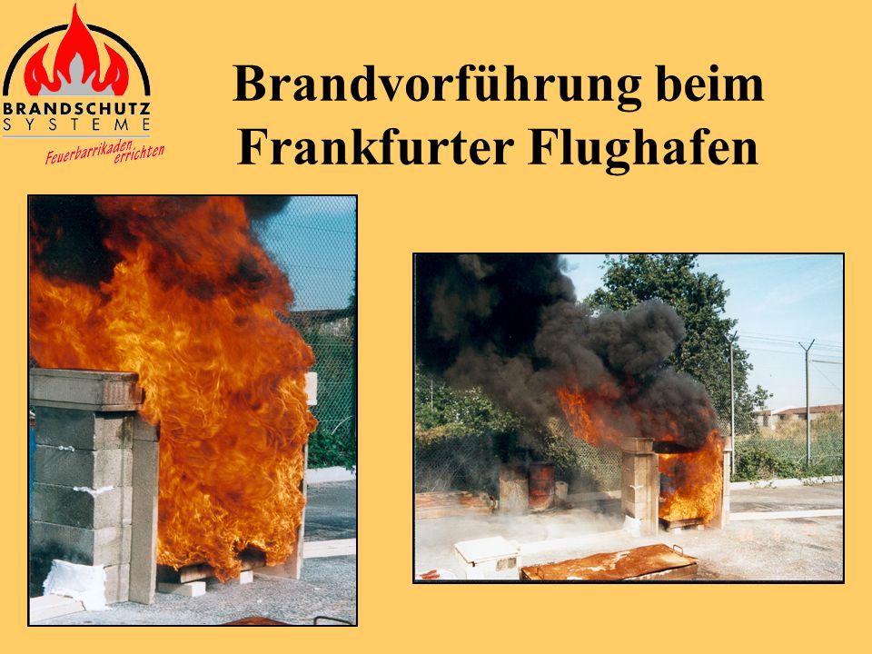 Brandvorführung beim Frankfurter Flughafen Eine mit Kabeln belegte Kabelpritsche wurde vom Kunden zur Verfügung gestellt. Das Feuer wurde mit Kerosin