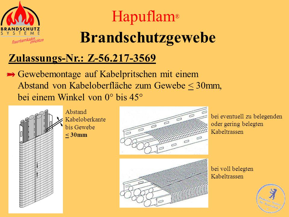 Hapuflam ® Brandschutzgewebe Zulassungs-Nr.: Z-56.217-3569 … Für die mit dem Brandschutzgewebe umhüllten elektrischen Leitungen (Kabel) oder Leitungsa