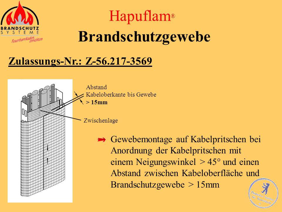 Hapuflam ® Brandschutzgewebe Zulassungs-Nr.: Z-56.217-3569 bei voll belegten Kabeltrassen Abstand Kabeloberkante bis Gewebe < 30mm bei eventuell zu be