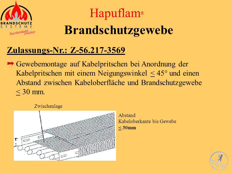 Hapuflam ® Brandschutzgewebe Zulassungs-Nr.: Z-56.217-3569 Gewebemontage auf Kabelpritschen bei Anordnung der Kabelpritschen mit einem Neigungswinkel