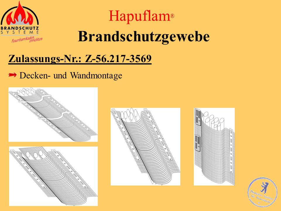 Hapuflam ® Brandschutzgewebe Zulassungs-Nr.: Z-56.217-3569 Deckenmontage mit Lochband 1: Lochband 2: Zugelassene Befestigung an der Decke 3: Hapuflam