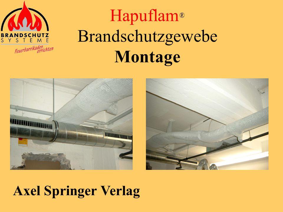 Axel Springer Verlag vorherNachher Hapuflam ® Brandschutzgewebe Montage