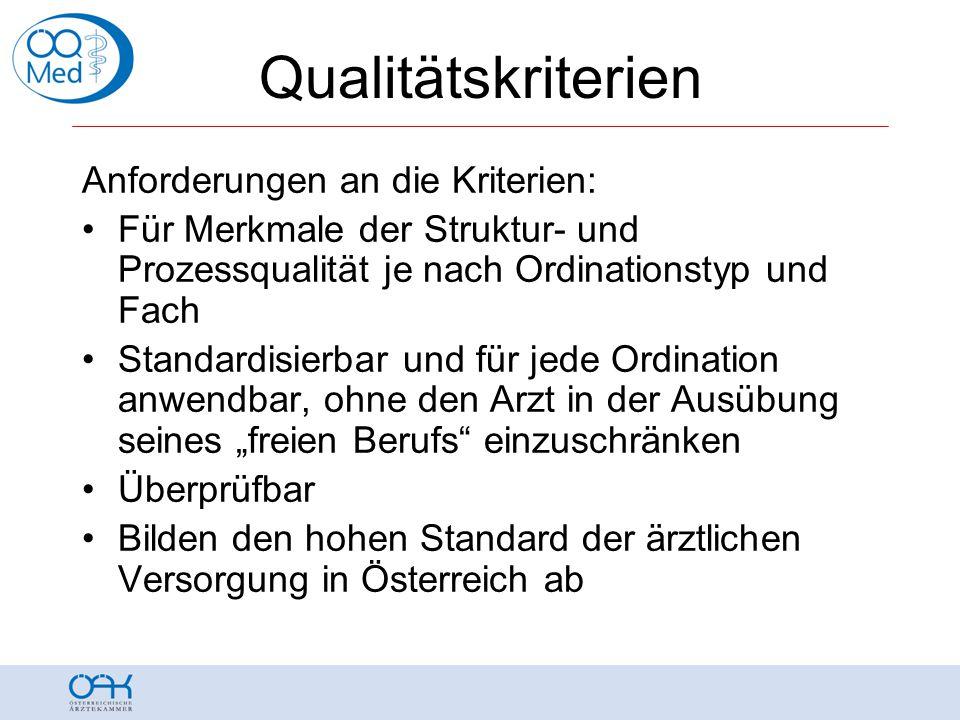 """Qualitätskriterien Anforderungen an die Kriterien: •Für Merkmale der Struktur- und Prozessqualität je nach Ordinationstyp und Fach •Standardisierbar und für jede Ordination anwendbar, ohne den Arzt in der Ausübung seines """"freien Berufs einzuschränken •Überprüfbar •Bilden den hohen Standard der ärztlichen Versorgung in Österreich ab"""