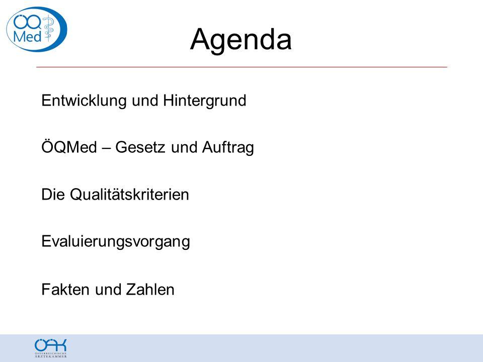 Agenda Entwicklung und Hintergrund ÖQMed – Gesetz und Auftrag Die Qualitätskriterien Evaluierungsvorgang Fakten und Zahlen