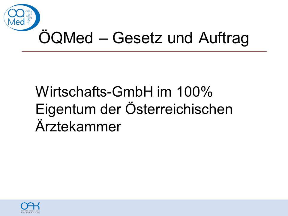 ÖQMed – Gesetz und Auftrag Wirtschafts-GmbH im 100% Eigentum der Österreichischen Ärztekammer