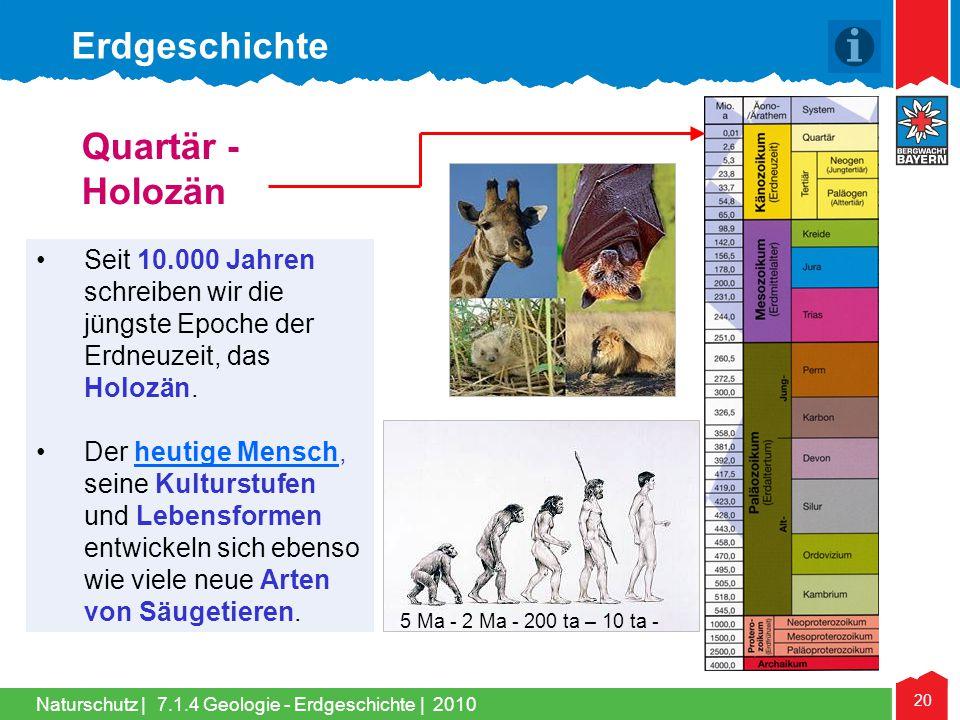 Naturschutz | 20 •Seit 10.000 Jahren schreiben wir die jüngste Epoche der Erdneuzeit, das Holozän. •Der heutige Mensch, seine Kulturstufen und Lebensf