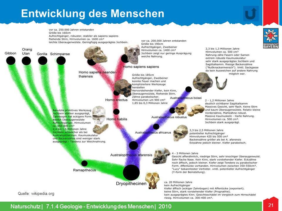 Naturschutz | 21 Quelle: wikipedia.org Entwicklung des Menschen 7.1.4 Geologie - Entwicklung des Menschen | 2010