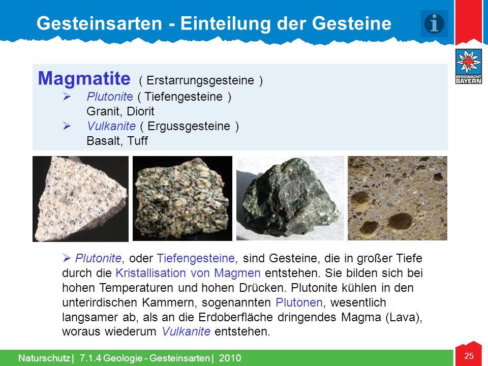 Naturschutz | 25 Magmatite ( Erstarrungsgesteine )  Plutonite ( Tiefengesteine ) Granit, Diorit  Vulkanite ( Ergussgesteine ) Basalt, Tuff  Plutoni